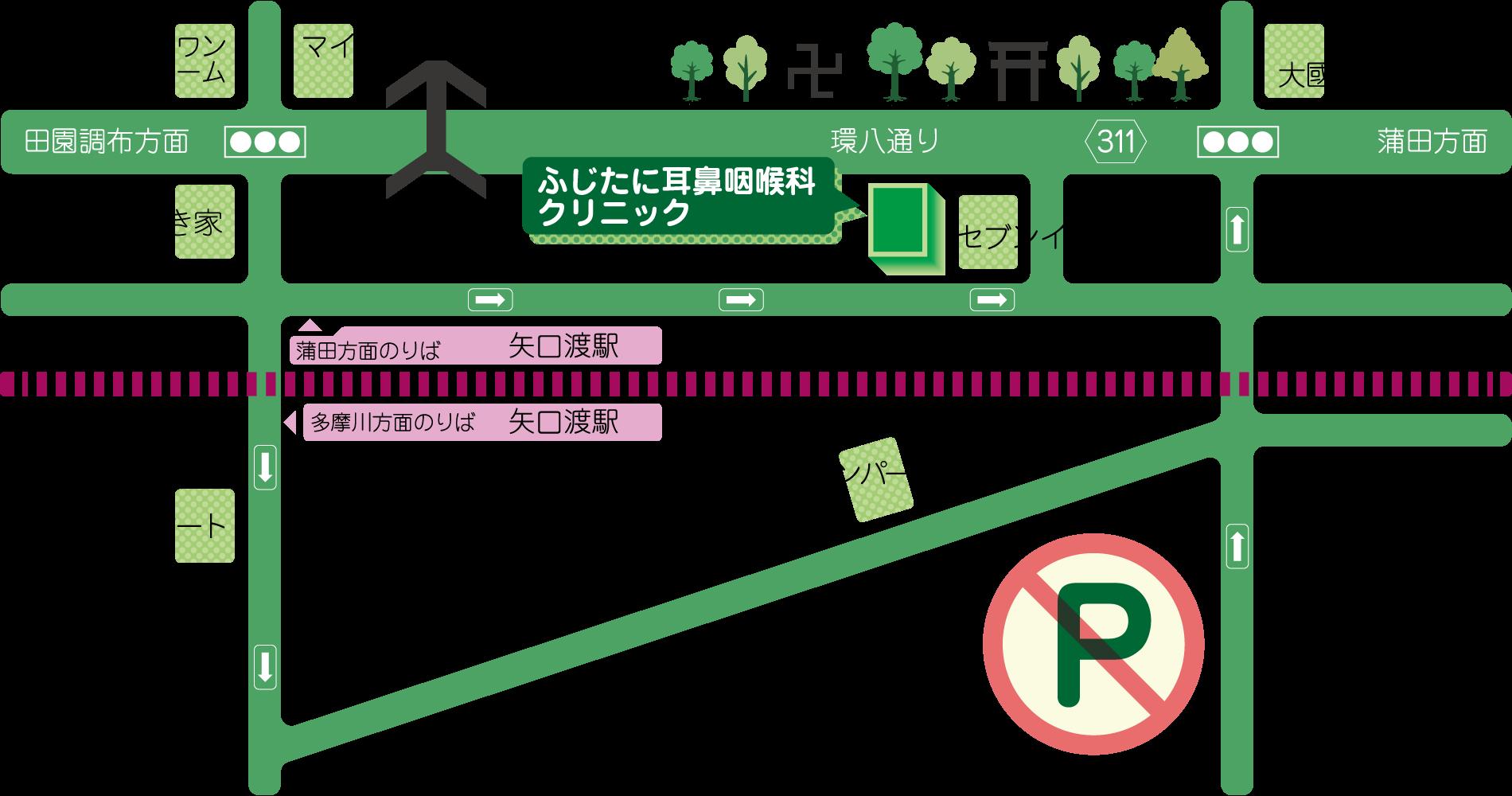 大田区 東急多摩川線 矢口渡駅周辺地図